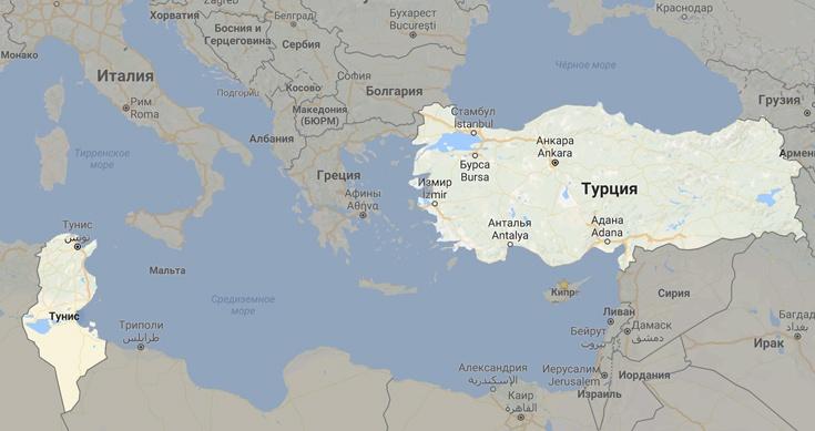 Тунис и Турция на карте