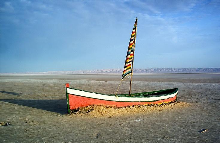 Высохшее солёное озеро в Сахаре